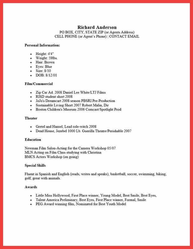 Sample Of Acting Resume. acting resume template 2016 child acting ...