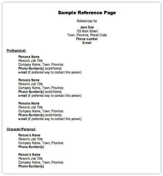 Resume Reference Template - uxhandy.com
