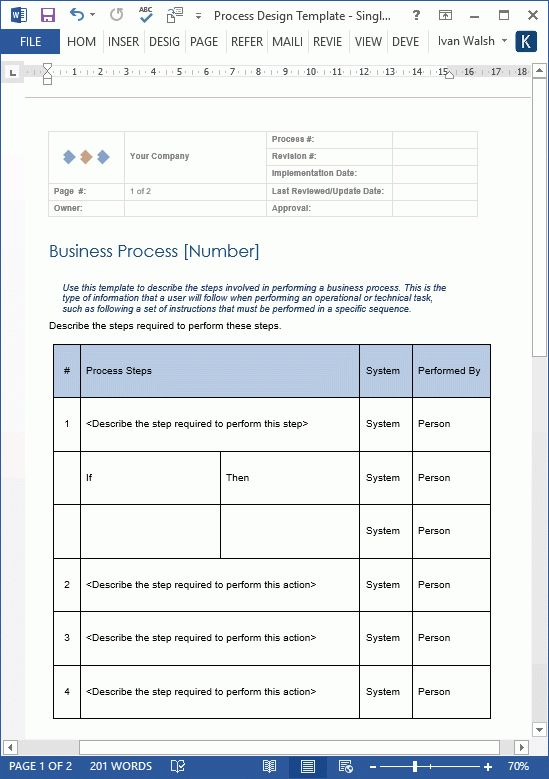 Business Process Design Templates - MS Word, Excel + Visio