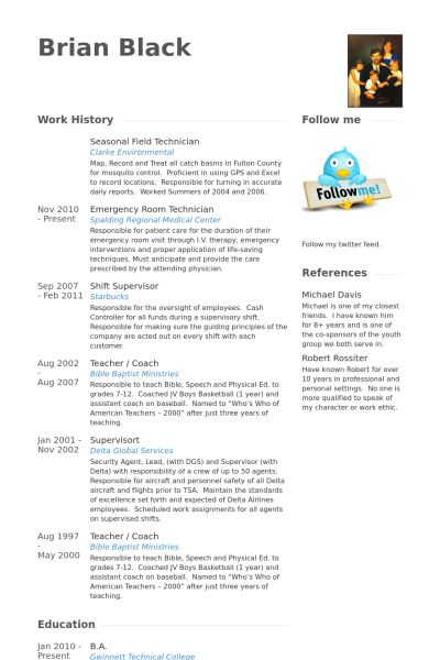 Field Technician Resume samples - VisualCV resume samples database