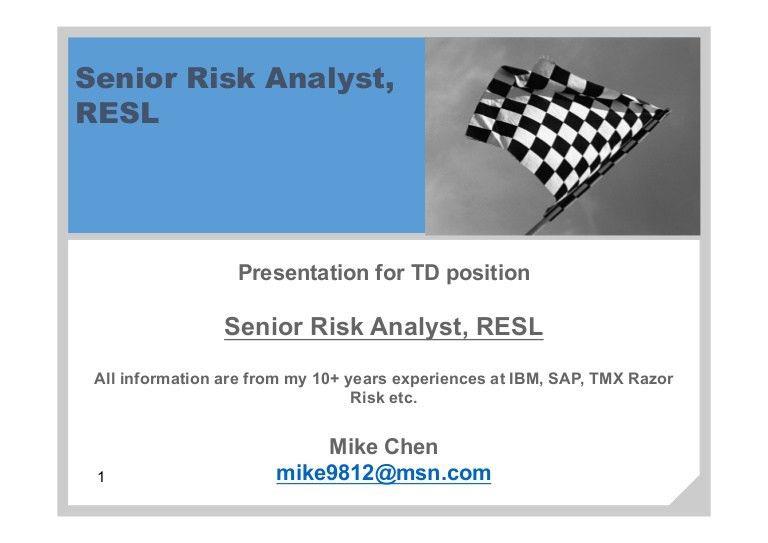 MikeChen TD Risk Analyst 20160626