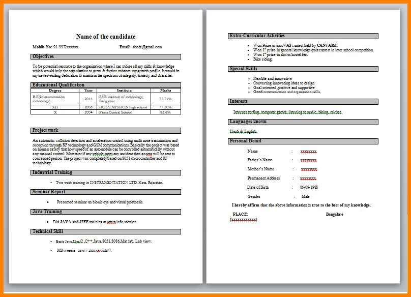 6+ resume model for freshers | inventory count sheet