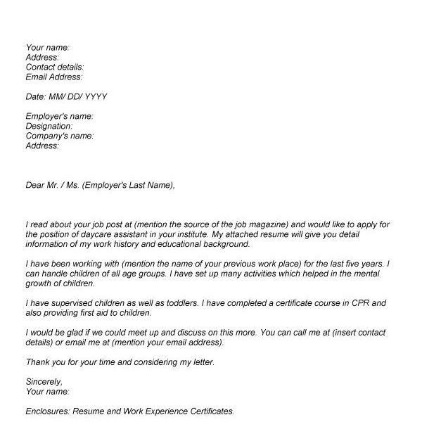 aged care cover letter