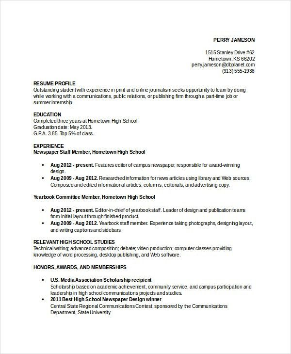resume template word 10 free word documents download free - High School Resume Template Word