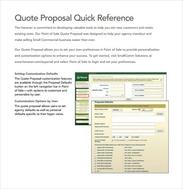 Sample Quote Proposal Template - 9+ Free Documents in PDF, Word