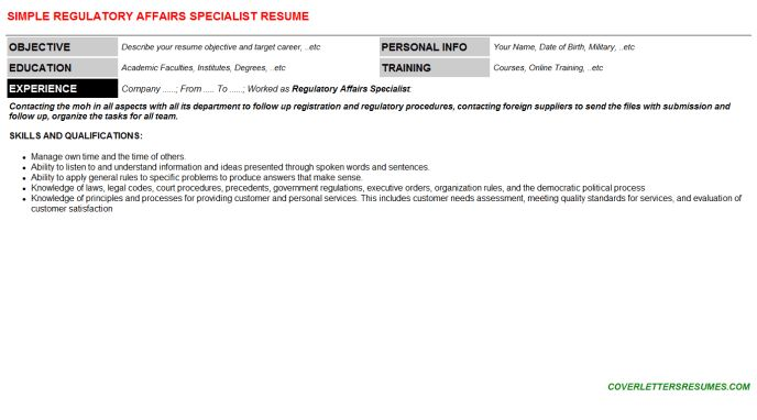 Regulatory Affairs Specialist Cover Letter & Resume