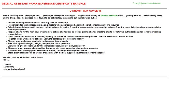 Medical Assistant Work Experience Certificate