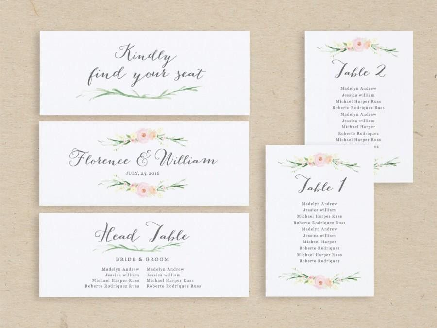 Wedding Seating Chart Template, Seating Plan, Seating Chart Cards ...