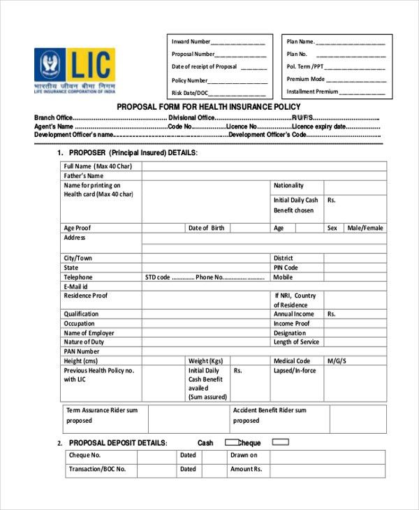 Sample LIC Proposal Form - 9+ Free Documents in PDF