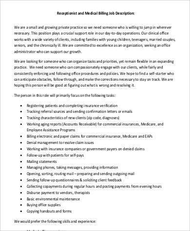 Medical Receptionist Job description Sample - 9+ Examples in Word, PDF