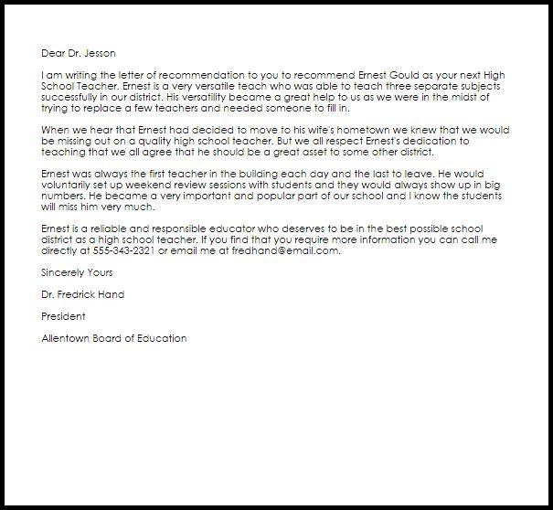High School Teacher Recommendation Letter Sample   LiveCareer