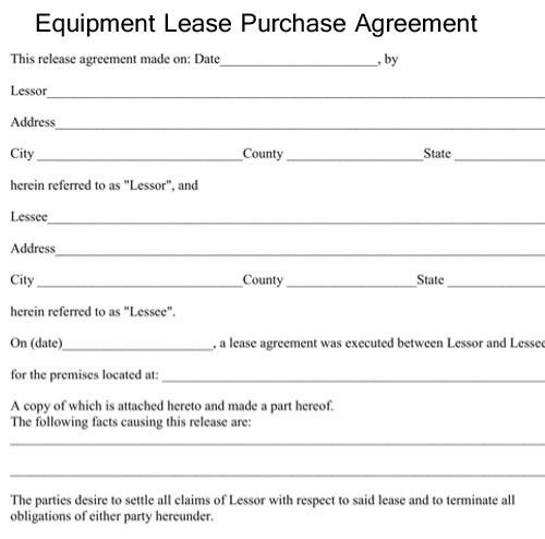 Equipment Lease Purchase Agreement   Excel About