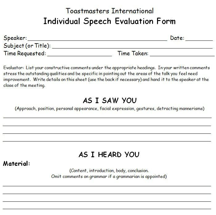 Speaker Feedback Form Student Evaluation Form In Pdf Idug Emea - Meeting Evaluation Form