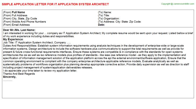 IT Application System Architect Application Letter
