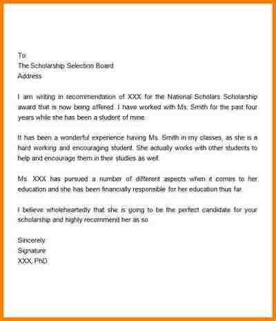 10+ recommendation letter for student scholarship sample | quote ...