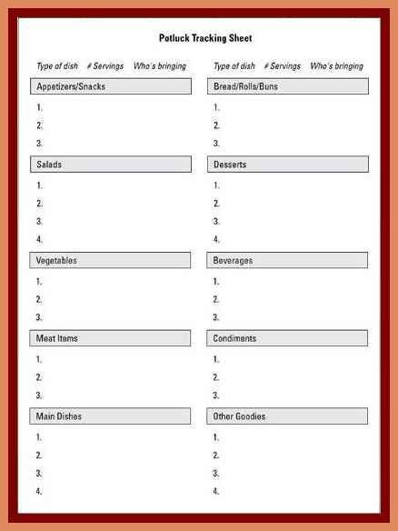 Potluck Signup Sheet Template.potluck Sign Up Sheet ...
