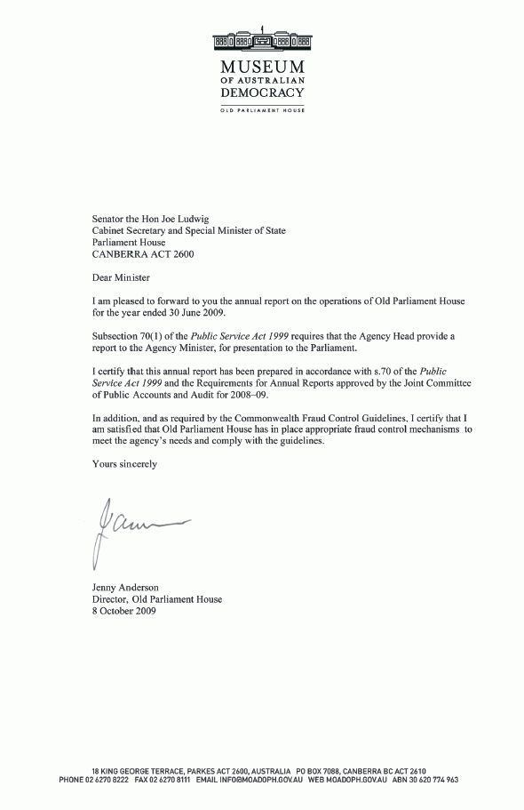 Letter of transmittal — Old Parliament House Annual Report 2008–09