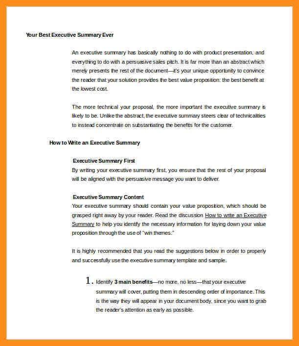 9+ sample executive summary | resume setups