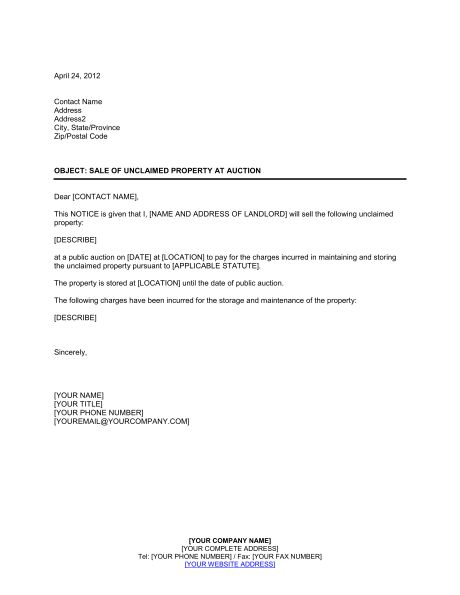 Notice of Unclaimed Property at Auction - Template & Sample Form ...