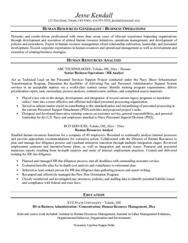 Free Human Resources Analyst Resume Example