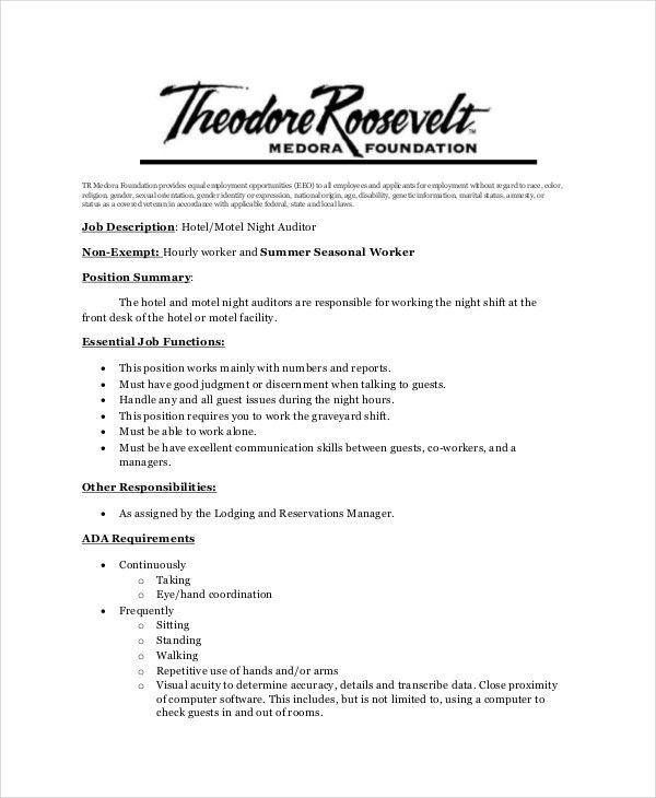 Night Auditor Job Description. Duties Sales Associate For Resume ...