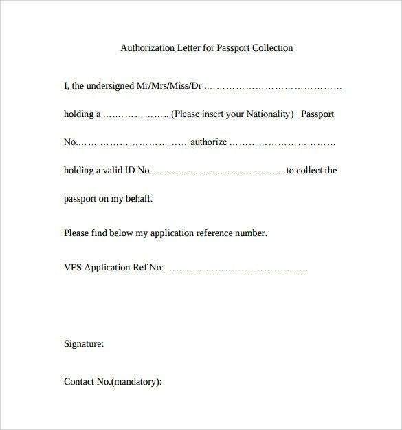 sample passport authorization letter free documents pdf word ...