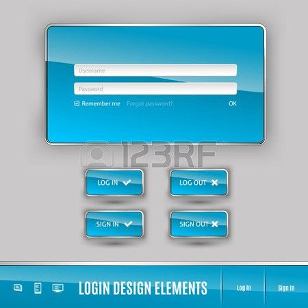Set Of Member Login Template With Buttons. Username And Password ...