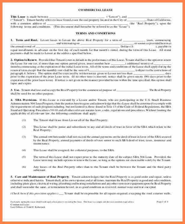 4+ simple commercial lease agreement template | Purchase Agreement ...