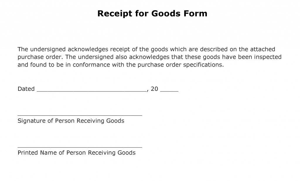 Free Receipt for Goods Form | PDF Template | Form Download