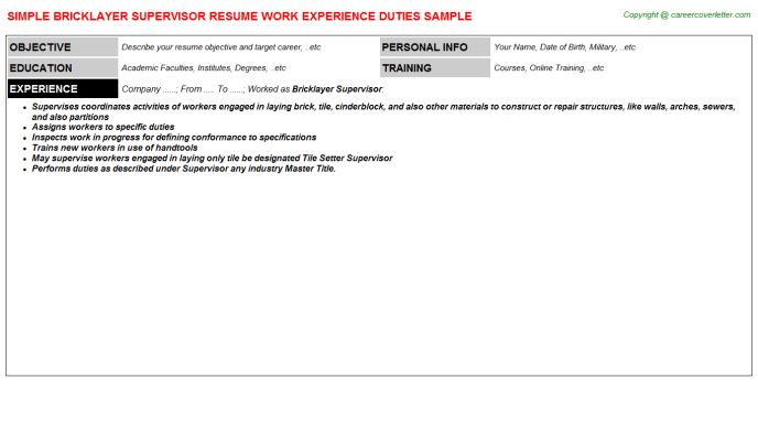 Bricklayer Supervisor Job Title Docs