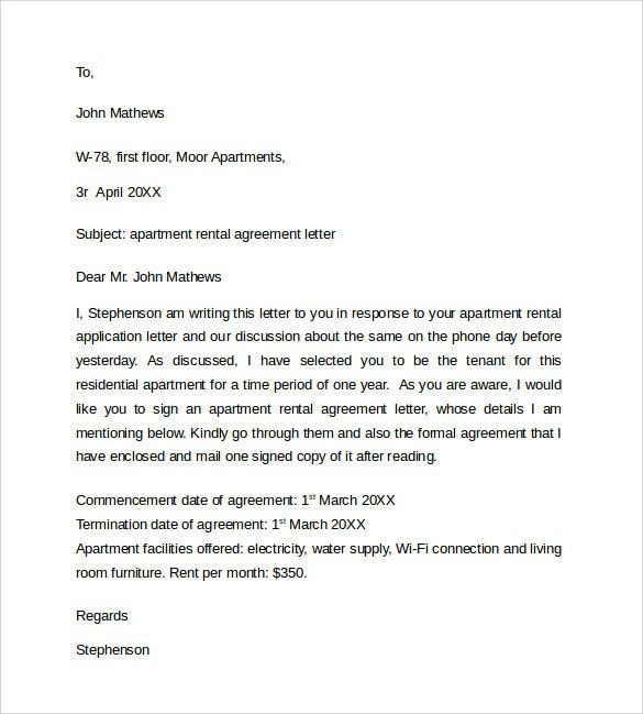Sample Rental Agreement Letter Rental Agreement Template Write A