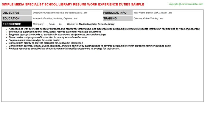 school librarian resumes