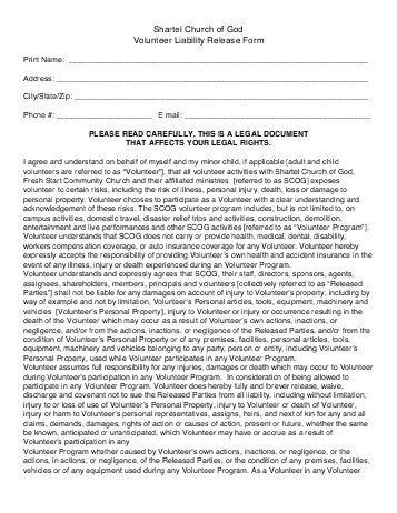 Volunteer Waiver Form Template. liability disclaimer template ...