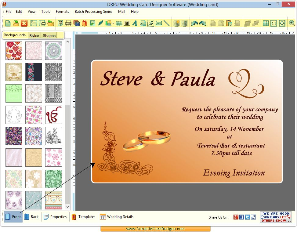 Wedding card maker software design invitation cards ...