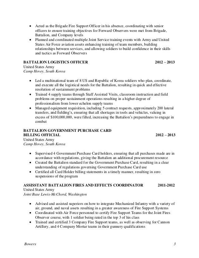 CPT Bowers Resume