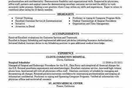 Surgery Scheduler Job Description. Scheduler Resume, Occupational ...