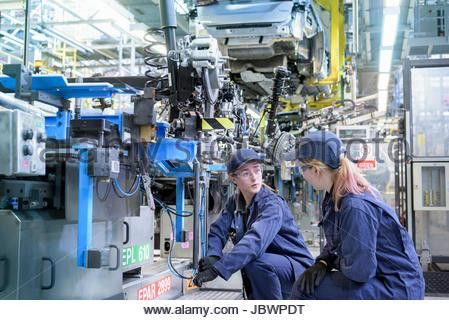 Female maintenance engineers working on production line in car ...
