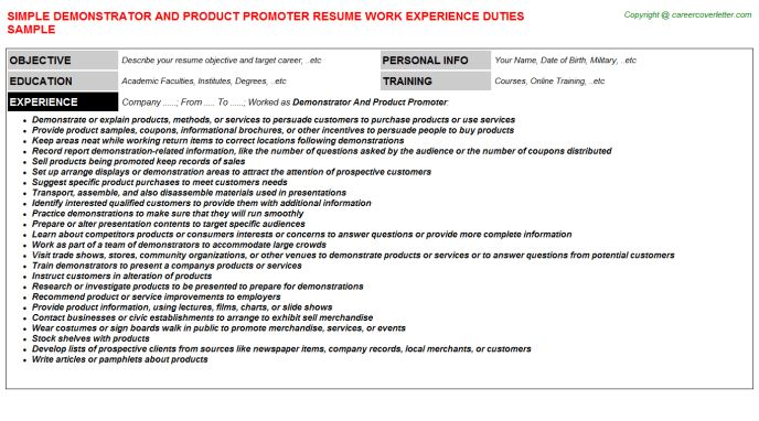 Demonstrator And Product Promoter Resume Sample