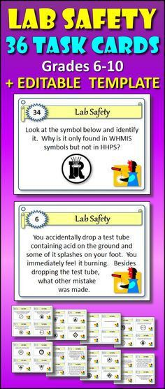 Science Lab Safety Task Cards | Science safety, Science lab safety ...