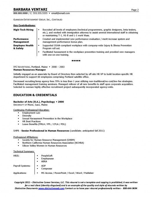 Sample Resume For Hr Manager | The Best Letter Sample