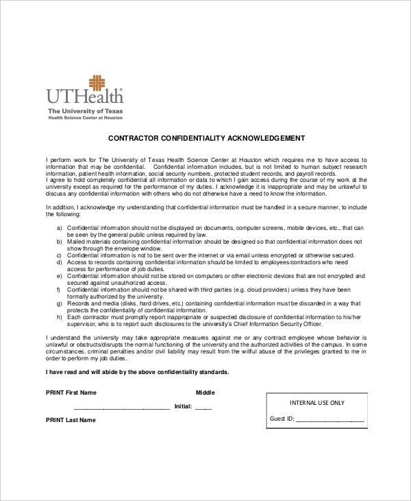 13+ Contractor Confidentiality Agreement Templates – Free Sample ...