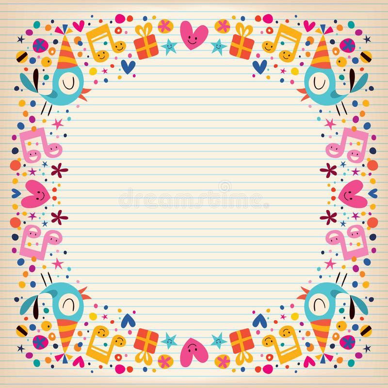 Happy Birthday Border Lined Paper Card Stock Photo - Image: 36077750