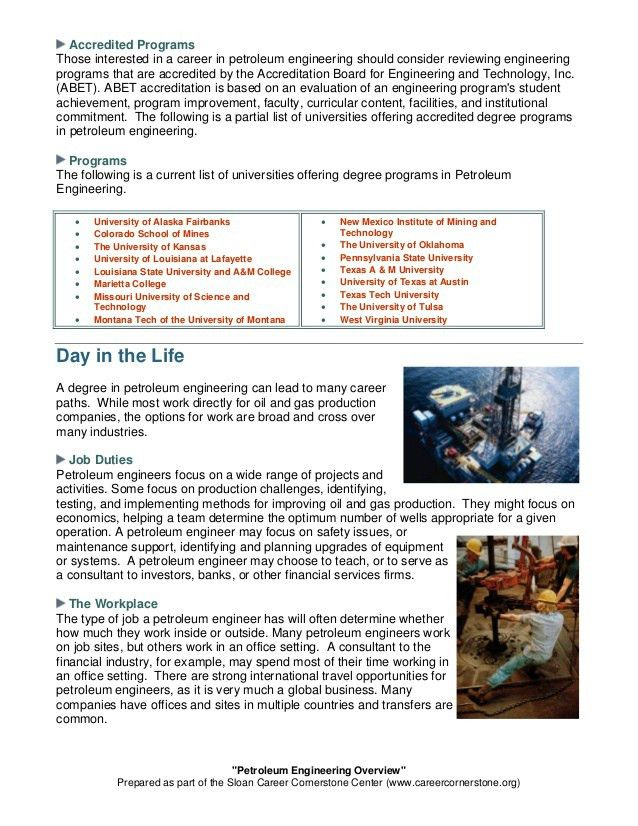 Petroleum engineering overview