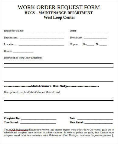 Sample Work Request Forms - 9+ Free Documents in Word, PDF