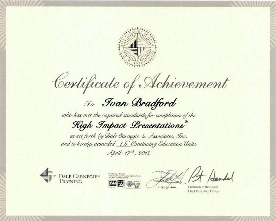 Dale Carnegie - Certificate of Achievement - Resume - Ivan Alfredo ...