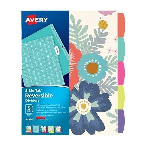 Avery Big Tab Floral Design 5-Tab Reversible Fashion Dividers - 1 Set