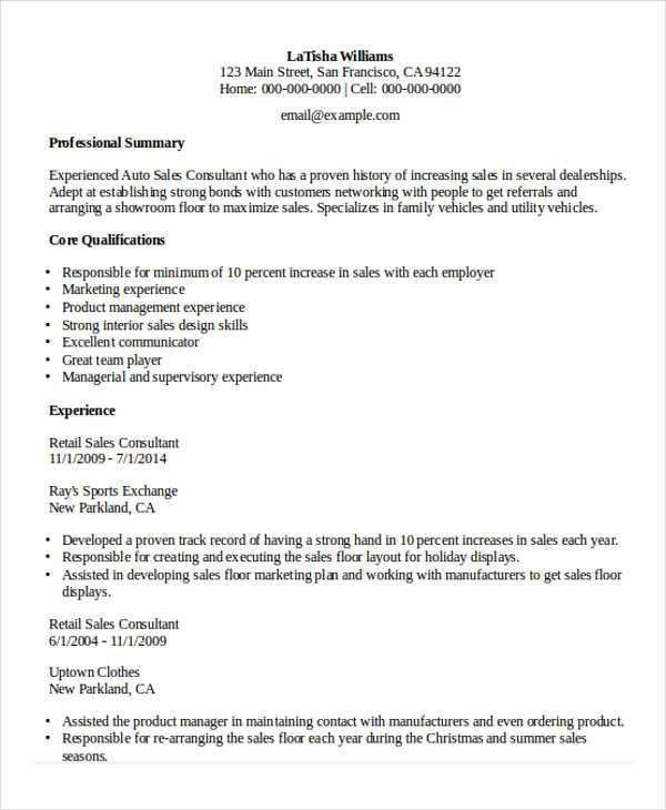 Sample Retail Sales Resume - 10+ Free Samples, Examples Format ...
