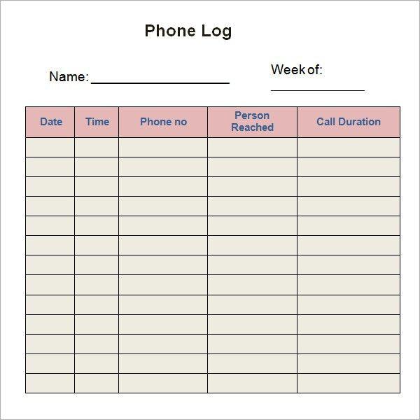 10+ Phone log Templates - Word Excel PDF Formats