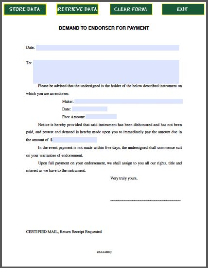 Demand Letter to Endorser for Payment | Forms | Pinterest