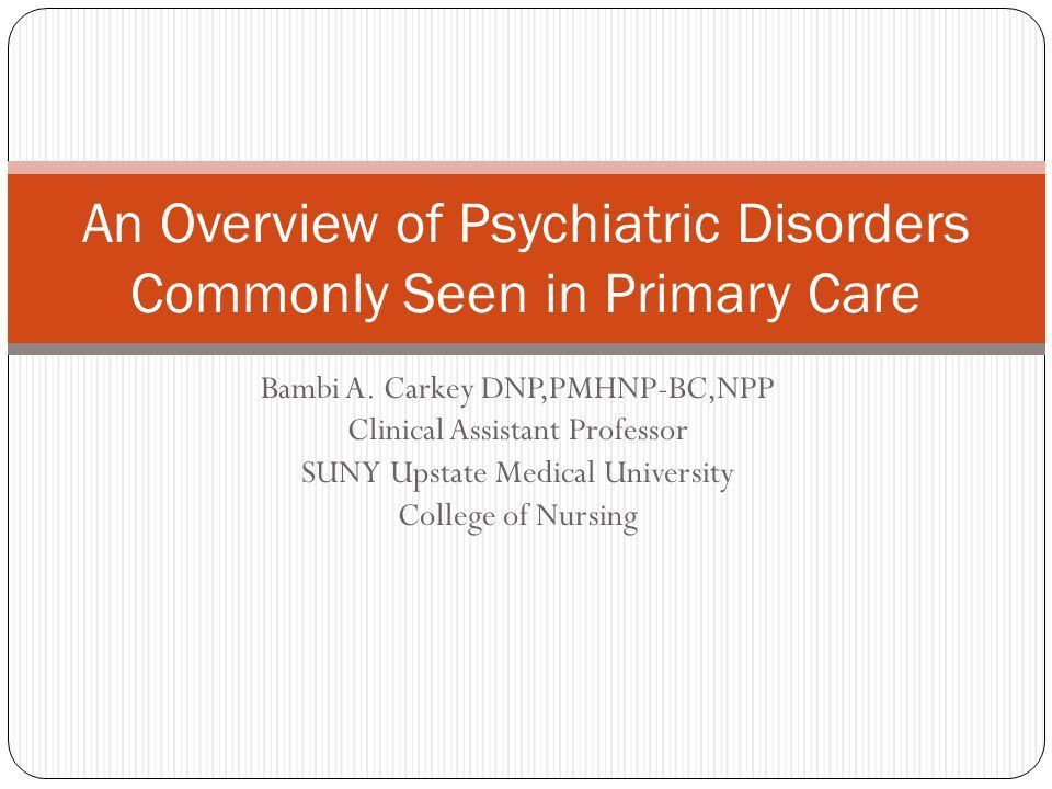 Bambi A. Carkey DNP,PMHNP-BC,NPP Clinical Assistant Professor SUNY ...